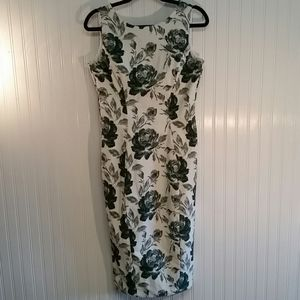 Eva Mendes White Dress with Green Flowers